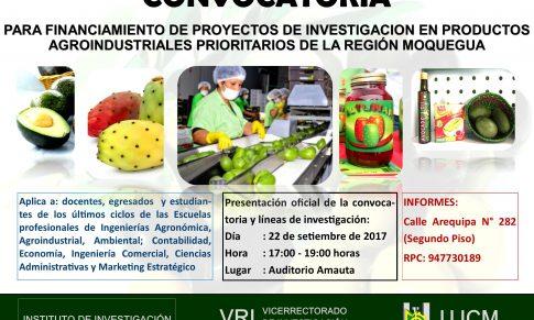 Convocatoria: Financiamiento de Proyectos de Investigación en productos agroindustriales