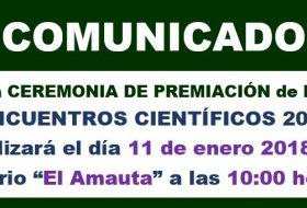 CEREMONIA DE PREMIACIÓN – ENCUENTROS CIENTÍFICOS 2017
